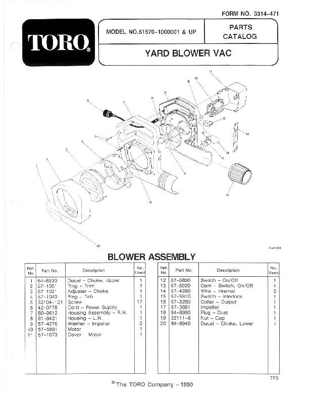 Toro 51570 Yard Blower Vac Manual, 1991