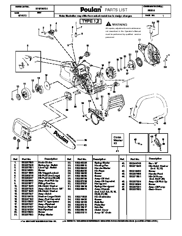 2010 Poulan Pro P3816 Chainsaw Parts List
