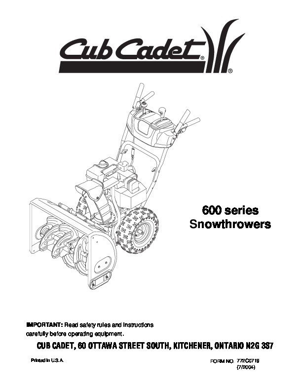 MTD Cub Cadet 600 Series Snow Blower Owners Manual