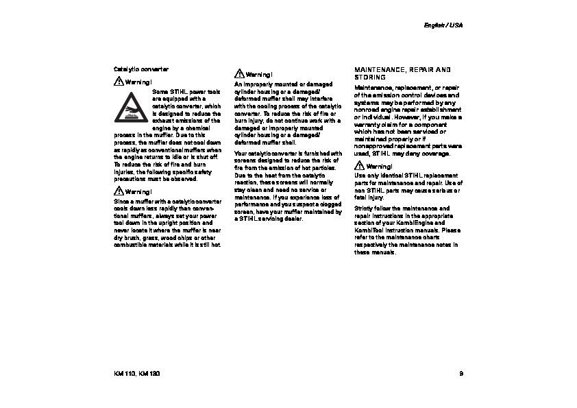 STIHL KM 110 130 Blower Kombi System Owners Manual