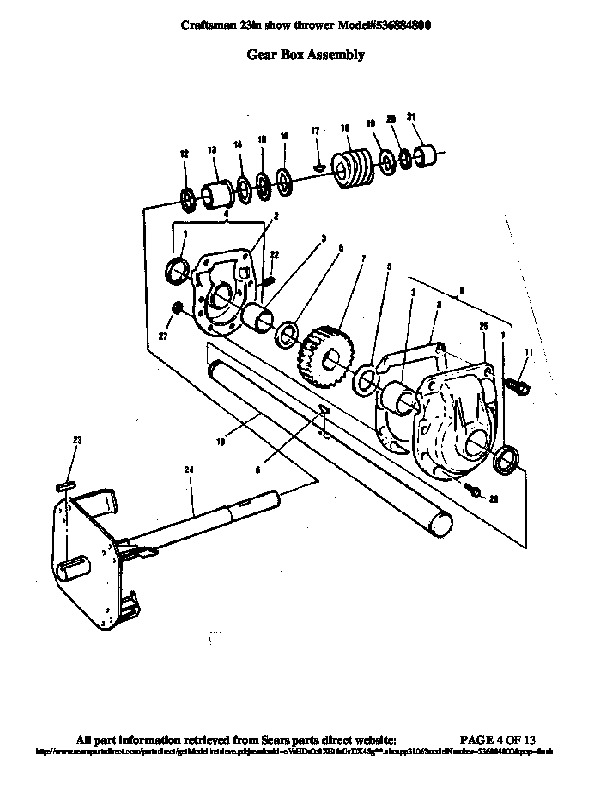 Craftsman 536.884800 23-Inch Snow Blower Owners Manual