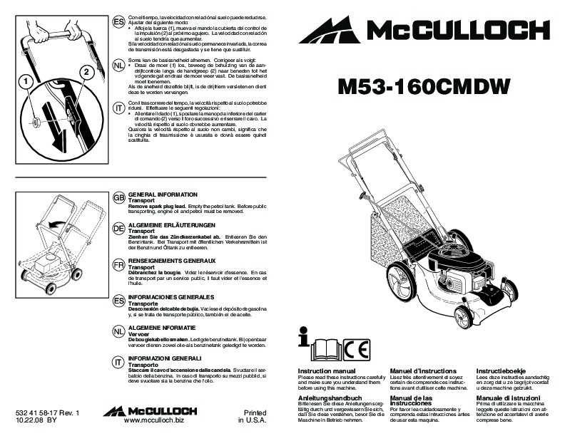 McCulloch M53 160 CMDW Lawn Mower Owners Manual, 2009