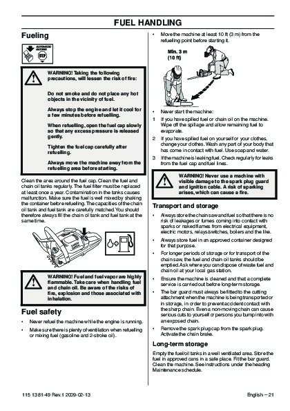 Husqvarna 445 445e 450e Chainsaw Owners Owners Manual