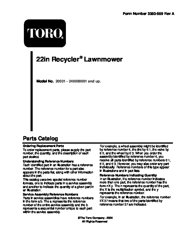 Toro 20031 22-Inch Recycler Lawn Mower Owners Manual, 2004