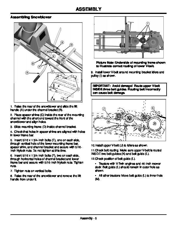 John Deere OMGX10742 J9 Snow Blower Owners Manual