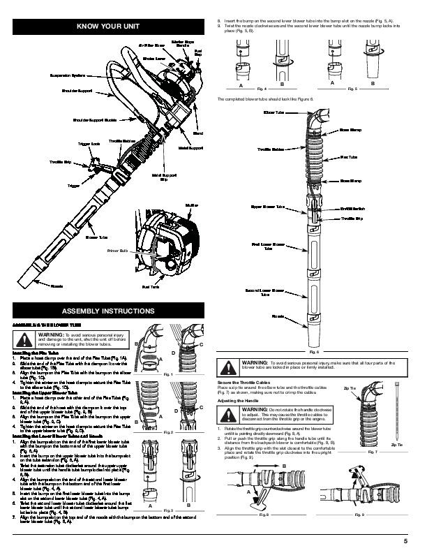 MTD Troy-Bilt TB2BP 2 Cycle Backpack Blower Owners Manual