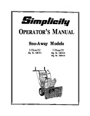 Simplicity Snow Blower Manuals