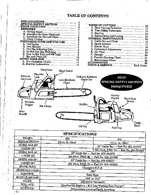 Poulan Pro 285 305 Chainsaw Owners Manual, 1992
