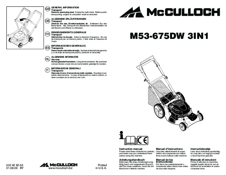 McCulloch M53 675DW 3IN1 Lawn Mower Owners Manual, 2009