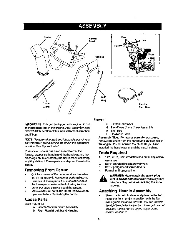 Craftsman 247.888550 28-Inch Snow Blower Owners Manual