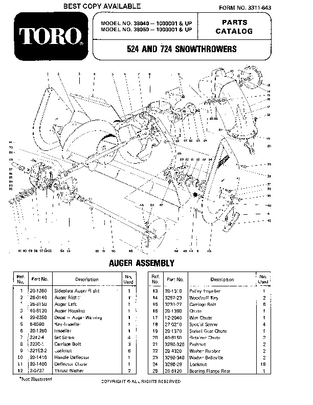 Toro 38050 724 Snowblower Manual, 1981