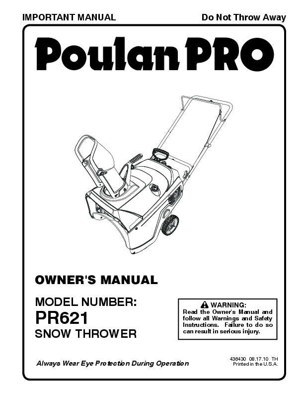 Poulan Pro PR621 436430 Snow Blower Owners Manual, 2010