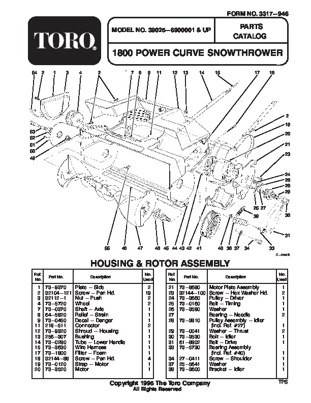 Toro 38025 1800 Power Curve Snowblower Manual, 1996
