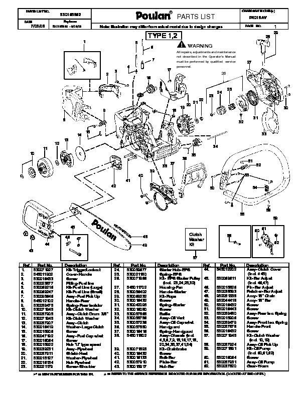 Poulan P4018AV Chainsaw Parts List, 2008