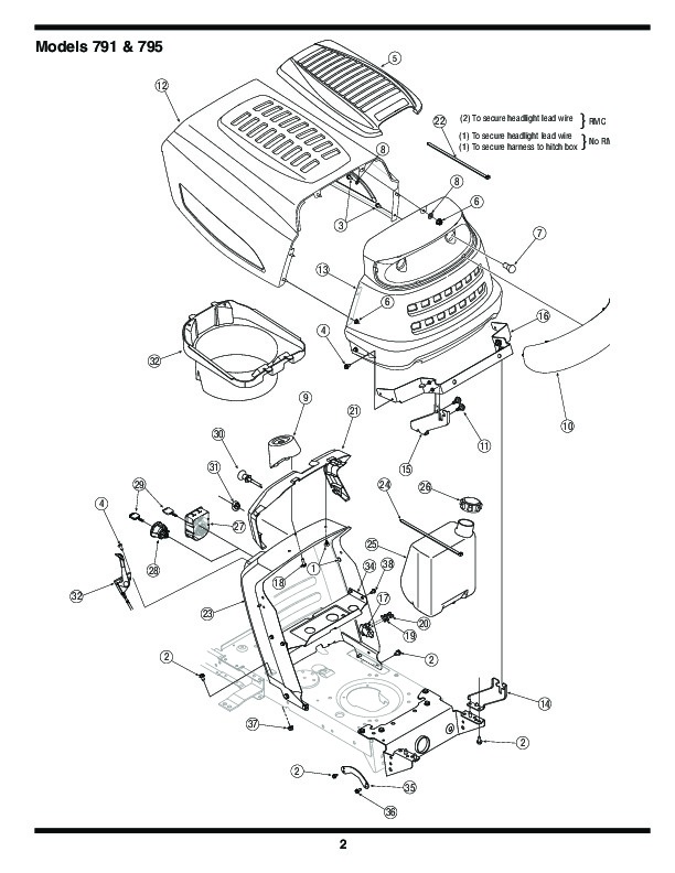 MTD 760 779 Hydrostatic Lawn Tractor Mower Parts List