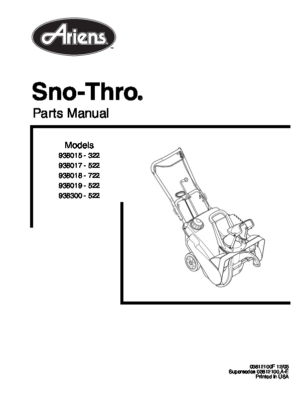 Ariens Sno Thro 938015 322 938016 522 Snow Blower Parts Manual