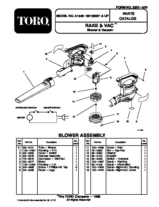 Toro 51549 Rake and Vac Blower Manual, 2000