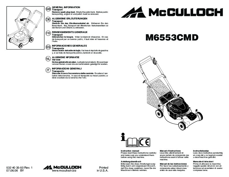 McCulloch M6553 CMD Lawn Mower Owners Manual, 2007