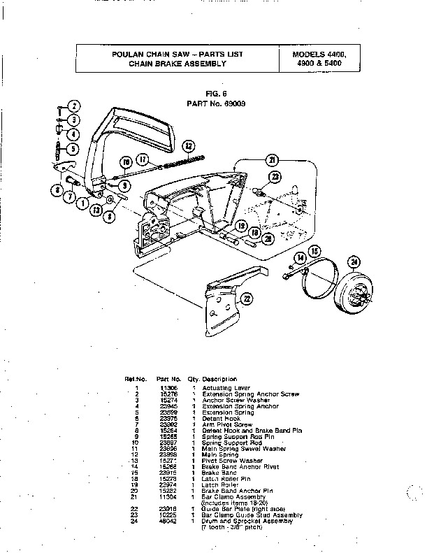 Poulan 4400 4900 5400 Chainsaw Parts List