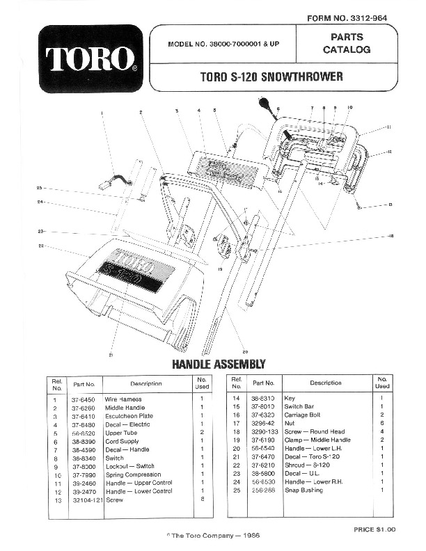 Toro 38000 S-120 Snowblower Manual, 1987-1988