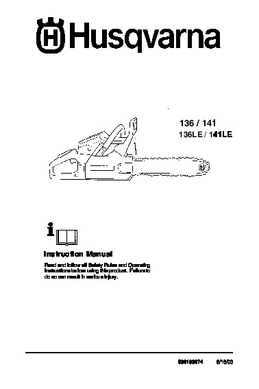 Husqvarna 136 141 136LE 141LE Chainsaw Instruction Manual