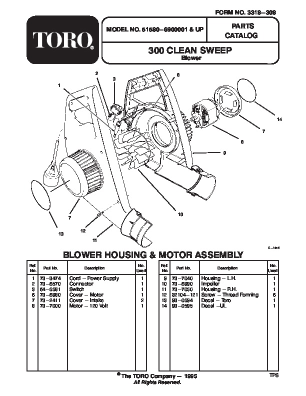 Toro 51580 300 Clean Sweep Manual, 1996