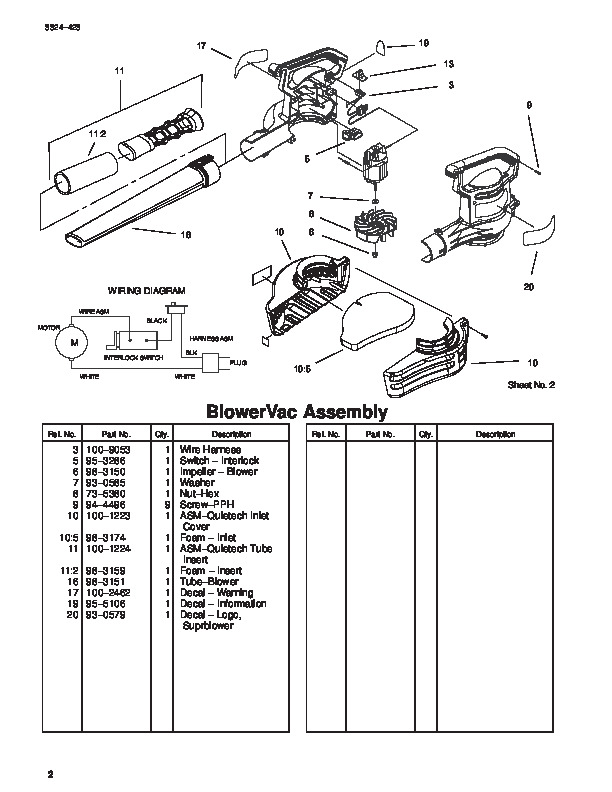 Toro 51589 Quiet Blower Vac Parts Catalog, 2000