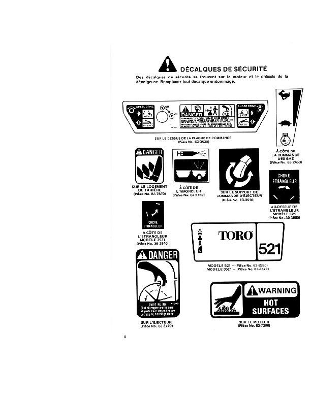 Toro 3521 521 38035 38052 Snow Blower Operators Manual