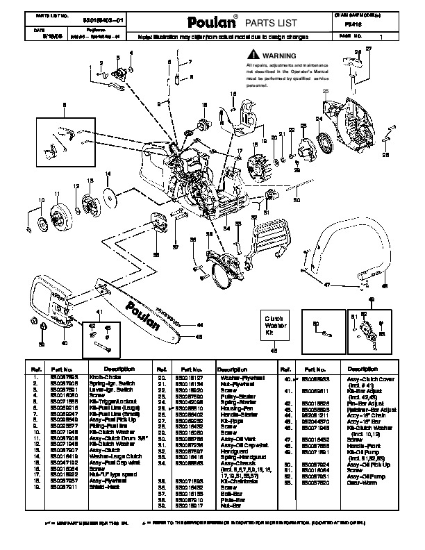 Poulan Pro P3416 Chainsaw Parts List