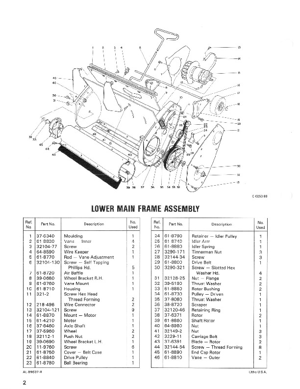 Toro 38000 S-120 Snowblower Parts Catalog, 1989-1991