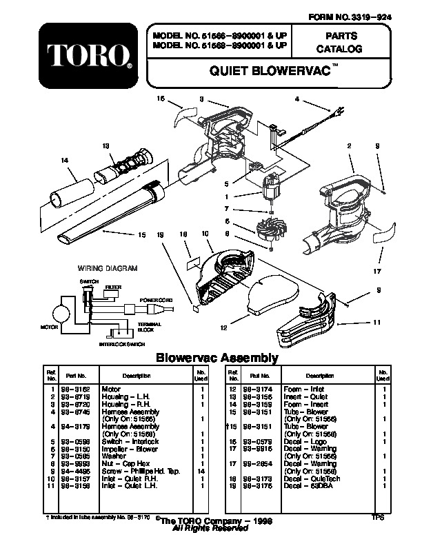 Toro 51566 Quiet Blower Vac Parts Catalog, 1999 page 1