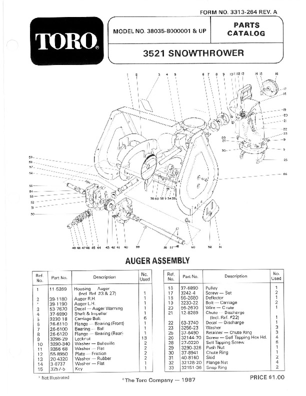 Toro 38035 3521 Snowblower Manual, 1988