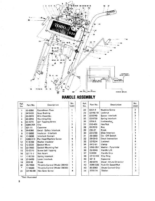 Toro 38040 524 Snowblower Parts Catalog, 1979