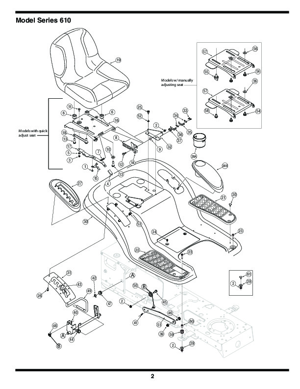 MTD 610 Hydrostatic Lawn Tractor Mower Parts List