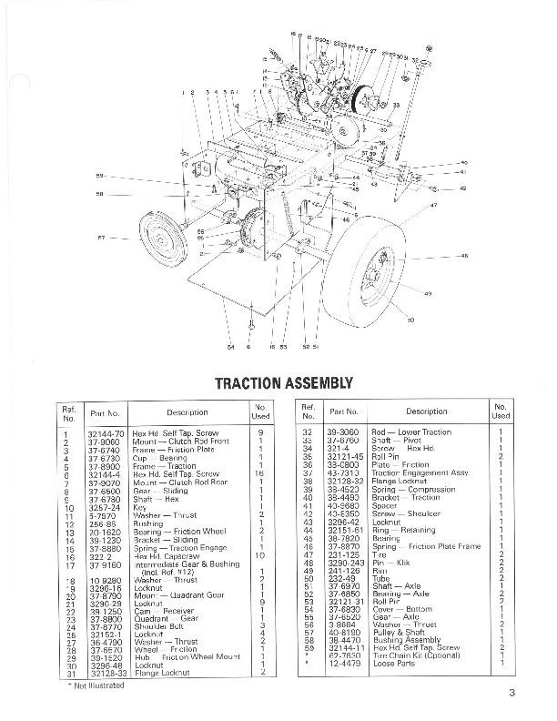 Toro 38052 521 Snowblower Parts Catalog, 1988