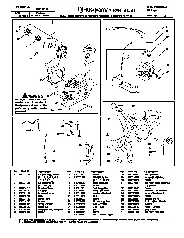 Husqvarna 137 Chainsaw Parts Manual