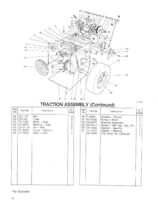 Toro 38052 521 Snowblower Parts Catalog, 1992