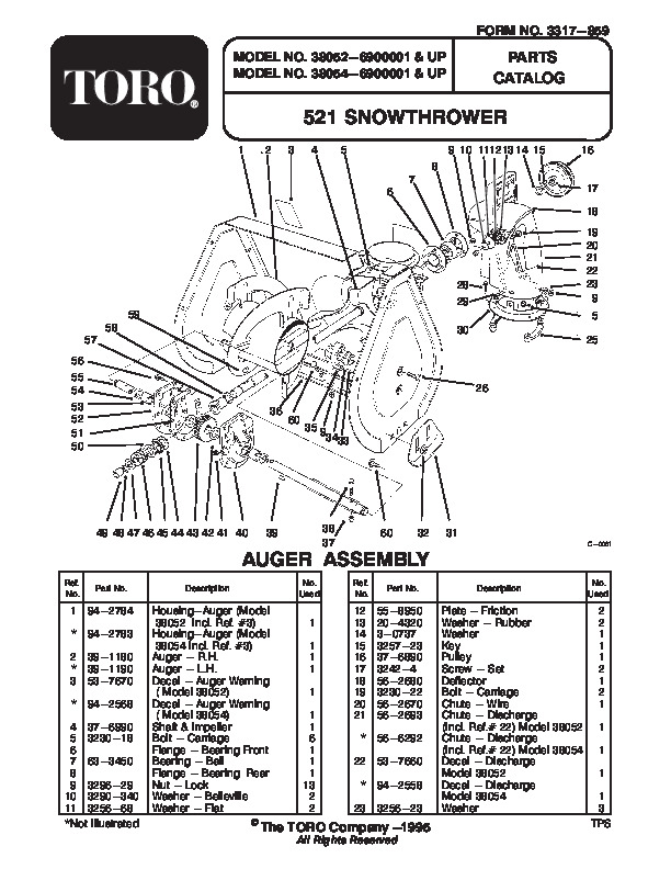 Toro 38054 521 Snowblower Manual, 1996