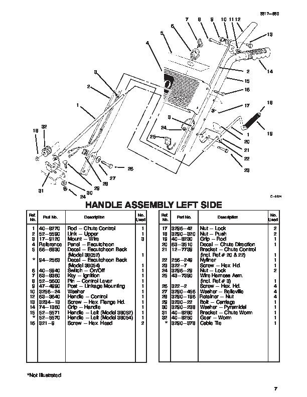 Toro 38052 38054 521 Snowblower Parts Catalog, 1996