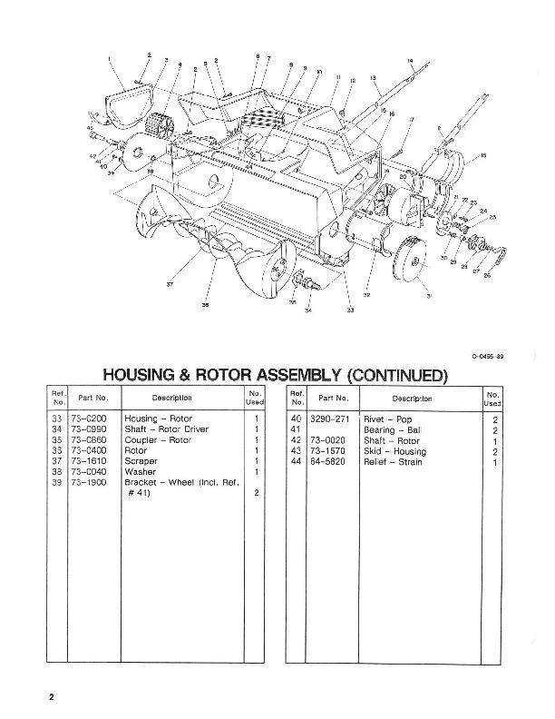 Toro 38025 1800 Power Curve Snowblower Parts Catalog, 1990