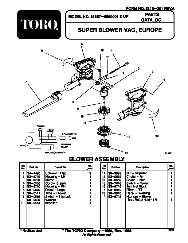 Toro 51557 Super Blower Vac Parts Catalog, 1996-1998