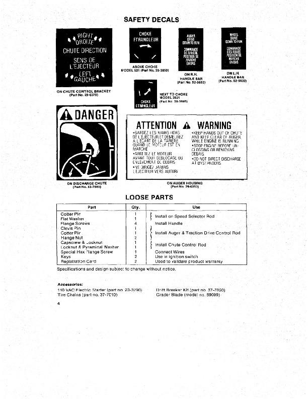 Toro 38035 3521 Snowblower Operators Manual, 1985