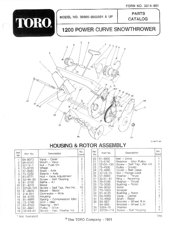 Toro 38005 1200 Power Curve Snowblower Parts Catalog, 1992