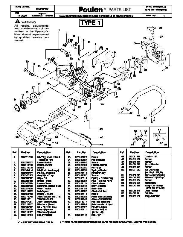 Poulan 2375 LE Wildthing Chainsaw Parts List