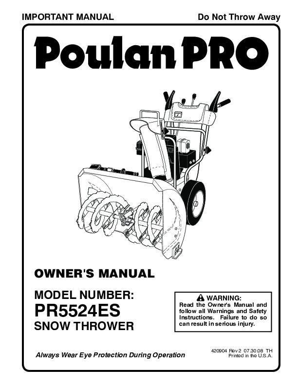 Poulan Pro PR5524ES 420904 Snow Blower Owners Manual