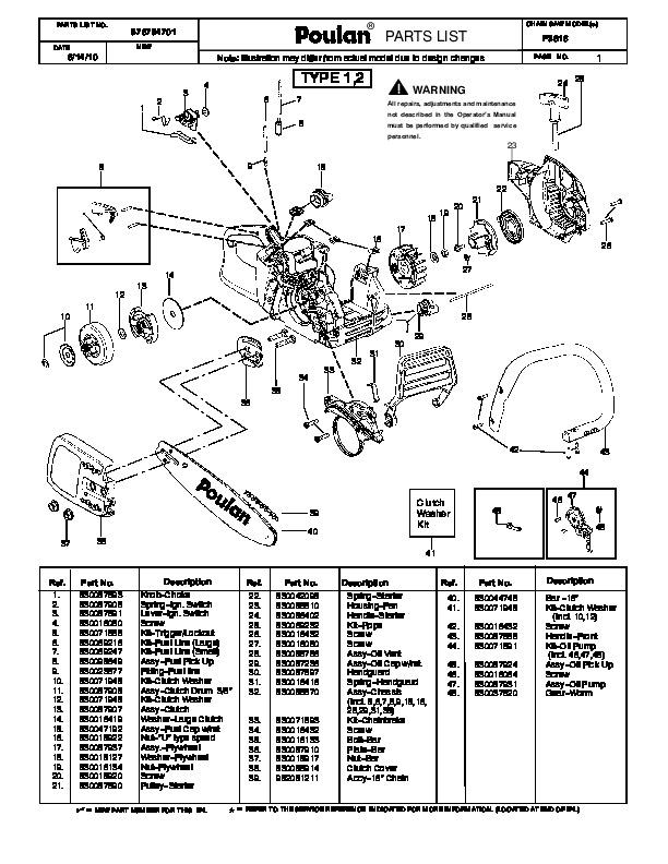 2010 Poulan Pro P3816 Chainsaw Parts List