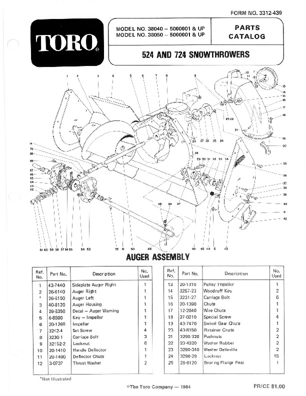 Toro 38040 38050 524 724 Snowblower Parts Catalog, 1985