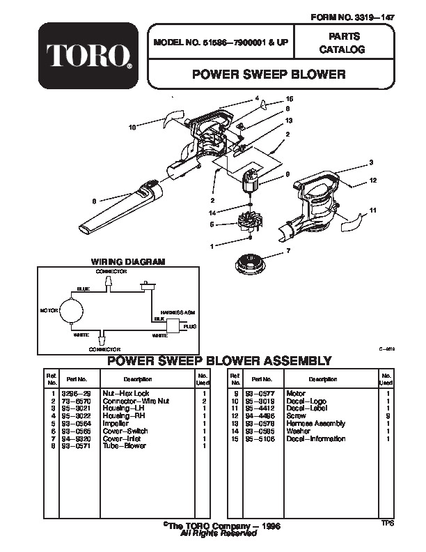 Toro 51586 Power Sweep Blower Parts Catalog, 1997
