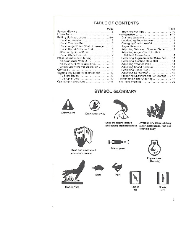 Toro 38052C 521 Snowblower Operators Manual, 1988