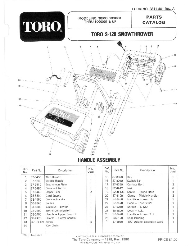 Toro 38000 S-120 Snowblower Parts Catalog, 1980-1981